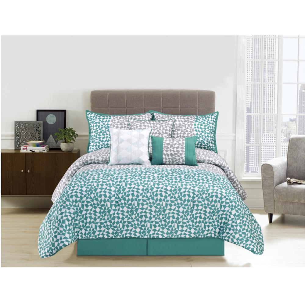 Piccadilly 7 Piece Aqua King Comforter Set