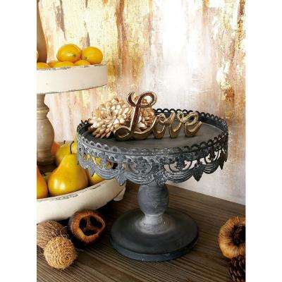 10 in. W x 9 in. H Black, Brick Red and Turquoise Round Iron Pedestal Trays with Floral Bunting Overhang (Set of 3)