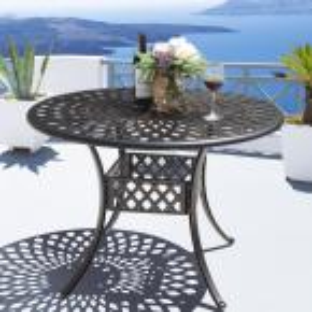 42 in. Antique Bronze Aluminum Outdoor Dining Table Patio Bistro Table