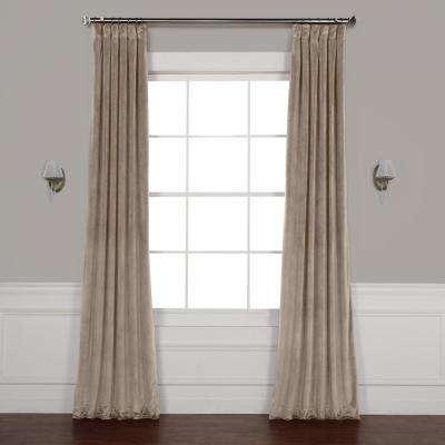 Gallery Taupe Brown Plush Velvet Curtain - 50 in. W x 96 in. L