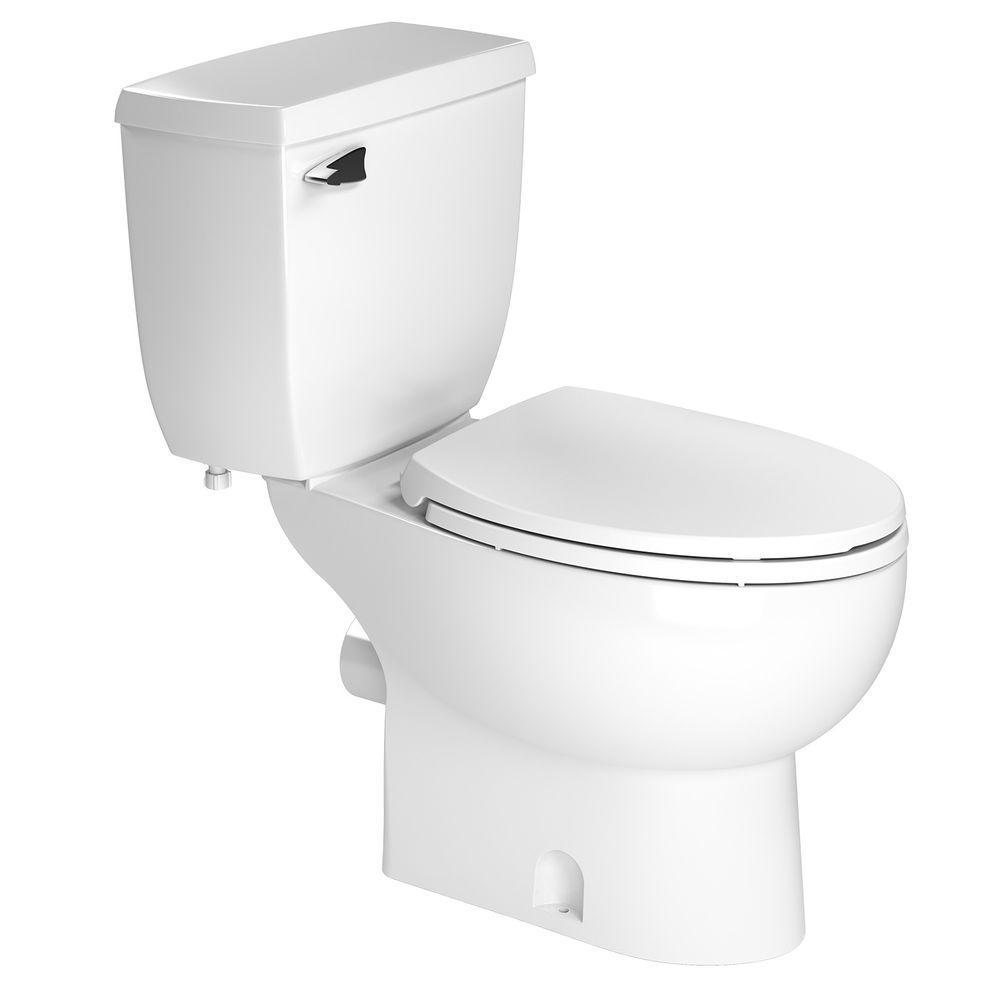 Saniflo 2-piece 1.28 GPF Single Flush Elongated Toilet in White ...