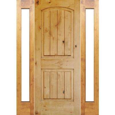 60 in. x 80 in. Rustic Unfinished Knotty Alder Arch Top VGrooved Left-Hand Full Sidelites Clear Glass Prehung Front Door