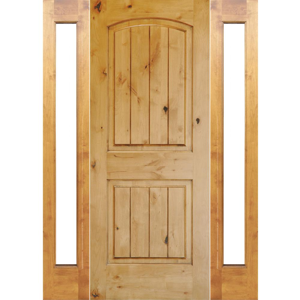 64 in. x 96 in. Rustic Knotty Alder Arch V-Groove Unfinished