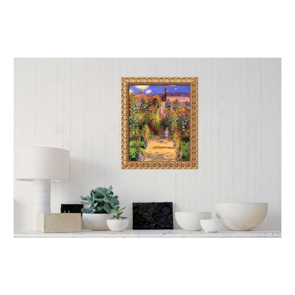 U0027The Artistu0027s Garden At Vetheuil, 1880u0027 By Claude Monet Printed Framed  Canvas Wall Art DSW01540   The Home Depot