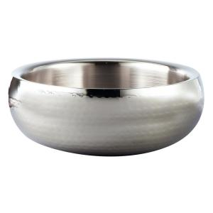 Hammered Stainless Steel 11 in. Double Wall Insulated Serving Bowl