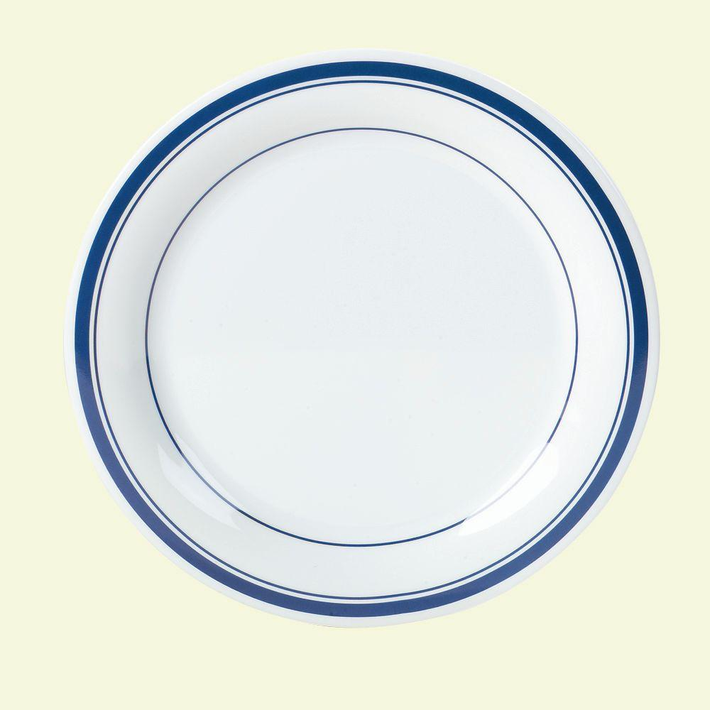 Diameter Melamine Narrow Rim Dinner Plate in London Blue Stripe on White  sc 1 st  Home Depot & Carlisle 9 in. Diameter Melamine Narrow Rim Dinner Plate in London ...