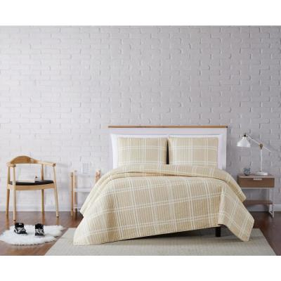 Leon Plaid Khaki Twin XL 2-Piece Quilt Set
