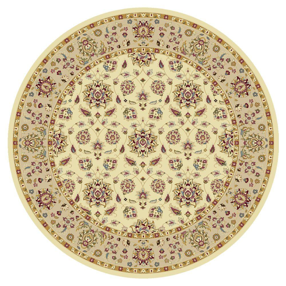 Kas Rugs Classic Studio Ivory/Beige 8 ft. x 8 ft. Round Area Rug This Kas Rugs 8 ft. x 8 ft. Area Rug will be a great decorative addition to your home. This round rug has a stain-resistant construction and fade-resistant materials. It is designed with ivory elements, bringing a light and pure touch to your decor. This rug has an oriental print for an intricately crafted piece that always stays in style. It has a 100% polypropylene design, making it a durable choice with impressive longevity. Color: Ivory/Beige.