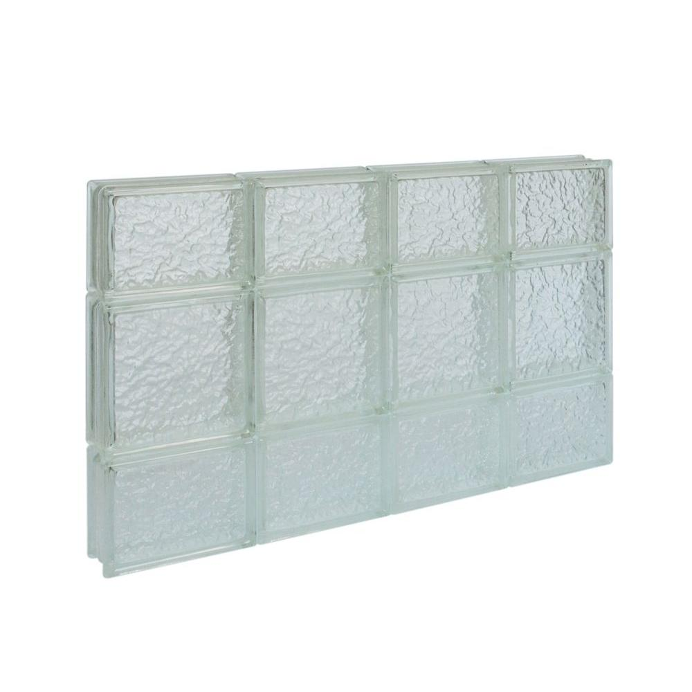 Pittsburgh Corning 31 in. x 19.5 in. x 3 in. IceScapes Pattern Solid Glass Block Window