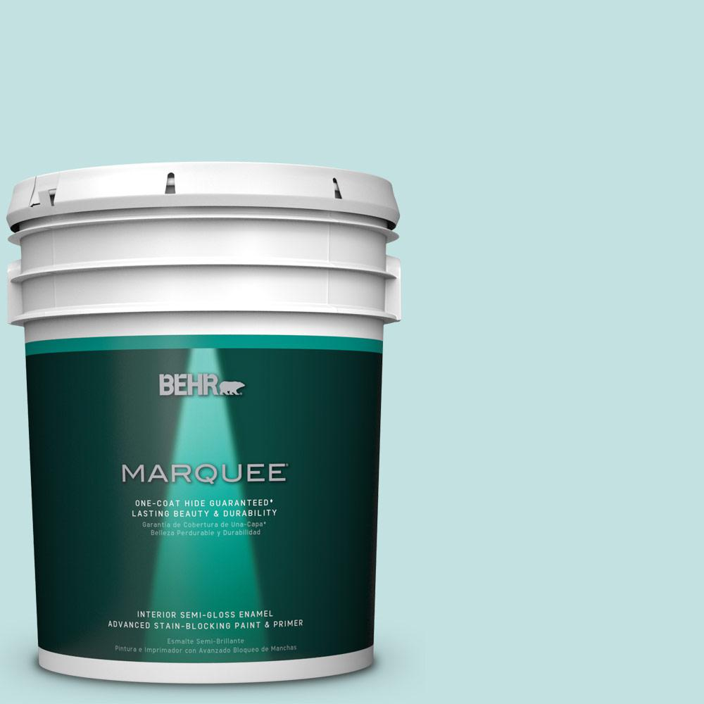 5 gal. #T17-04 Peek a Blue Semi-Gloss Enamel Interior Paint