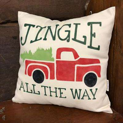 """Beige, Semi and Transparent """"Jingle All The Way"""" Truck with Tree Stencil"""