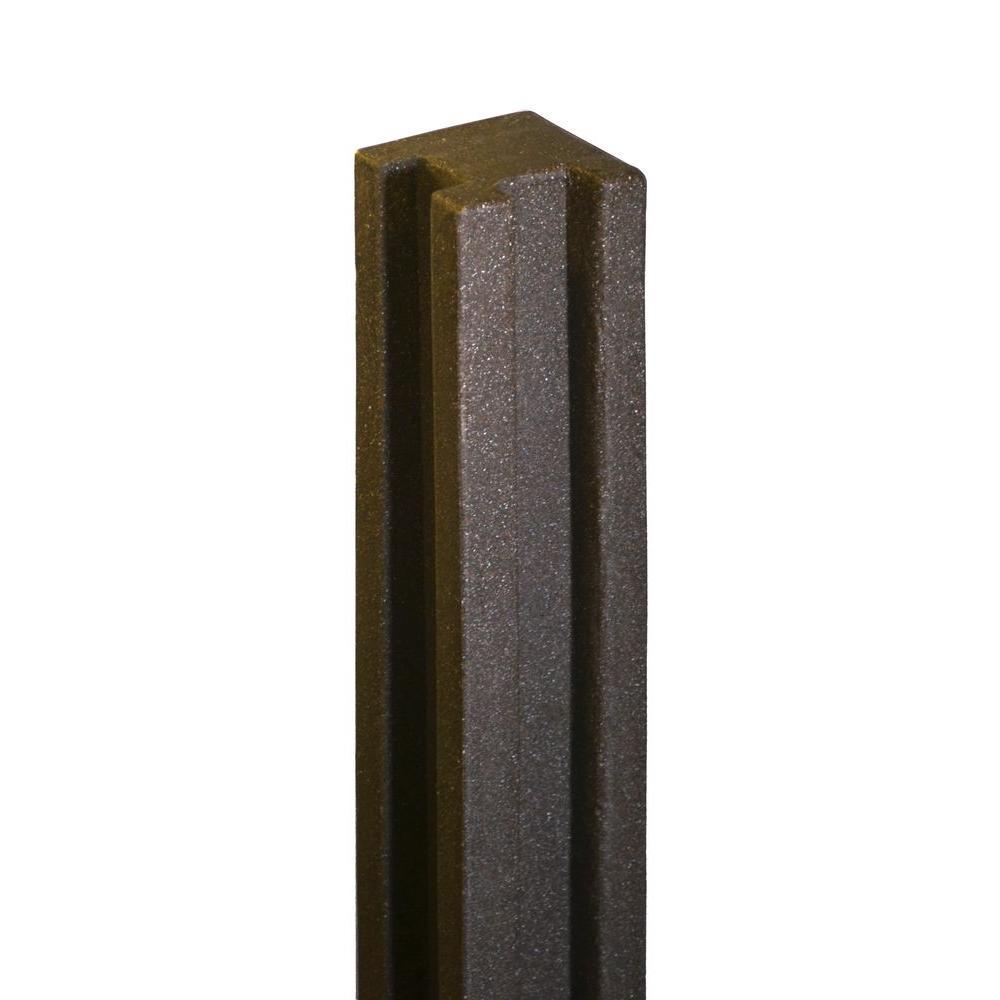 5 in. x 5 in. x 8-1/2 ft. Dark/Walnut Brown Composite Fence Corner Post