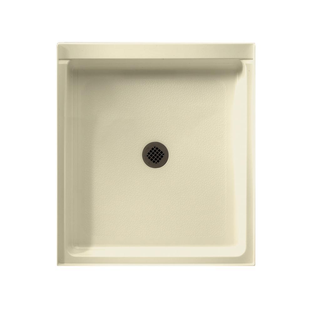 Veritek 42 in. x 36 in. Single Threshold Center Drain Shower Pan in Bone