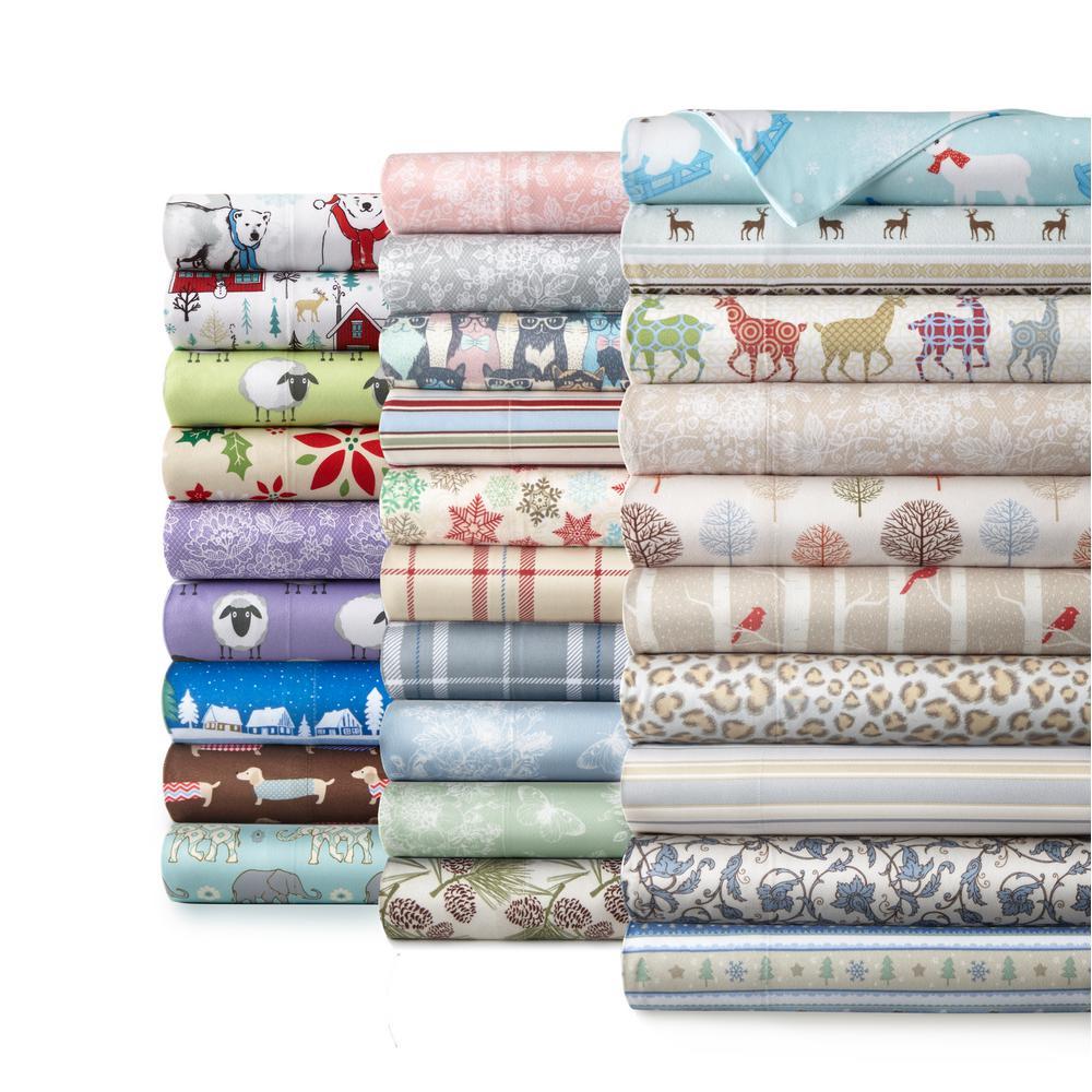 4-Piece Carlton Plaid Gray Queen Polyester Sheet Set