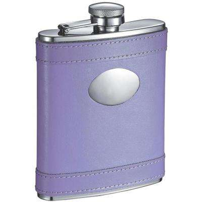 Lave Lavander Leather Stainless Steel 6 oz. Hip Flask