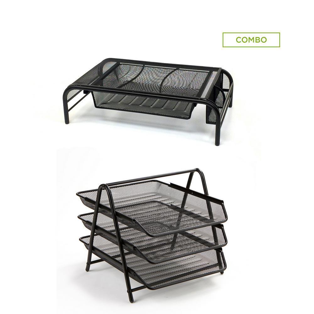 Metal Mesh Monitor Stand with Drawers and 3-Tier Paper Tray Organizer