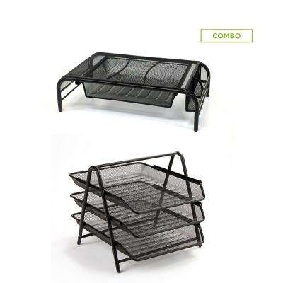 Metal Mesh Monitor Stand with Drawers and 3-Tier Paper Tray Organizer Set, Black (2-Piece)