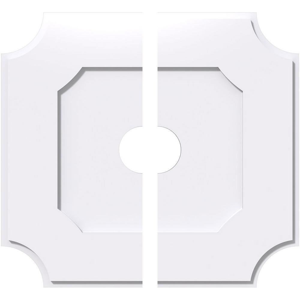 12 in. x 12 in. x 1 in. Locke Architectural Grade PVC Contemporary Ceiling Medallion (2-Piece)