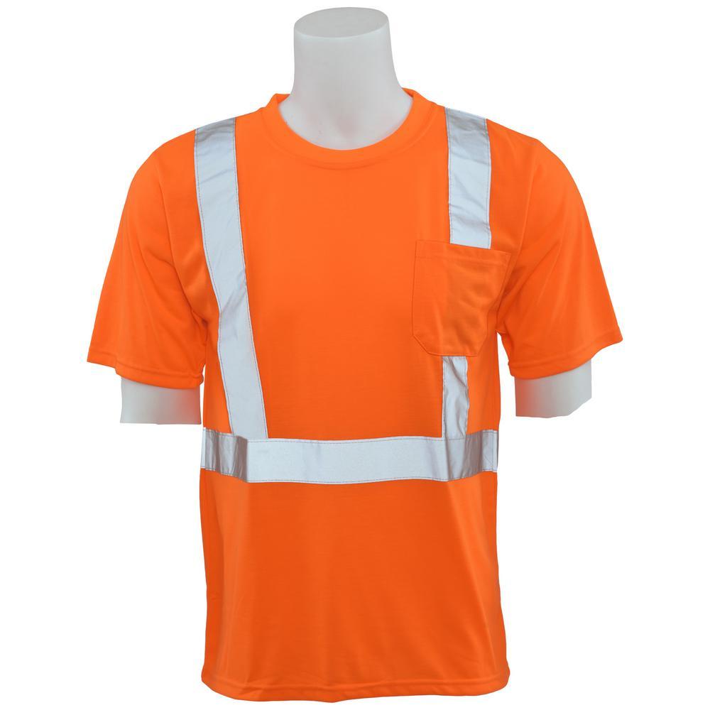9601S L Class 2 Short Sleeve Hi Viz Orange Unisex Poly Jersey T-Shirt