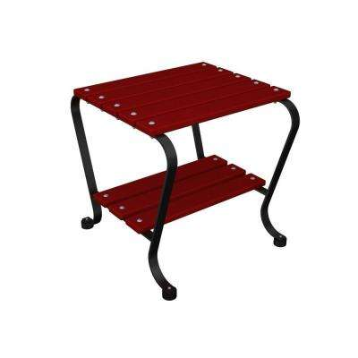 18 in. Black and Sunset Red Patio Side Table