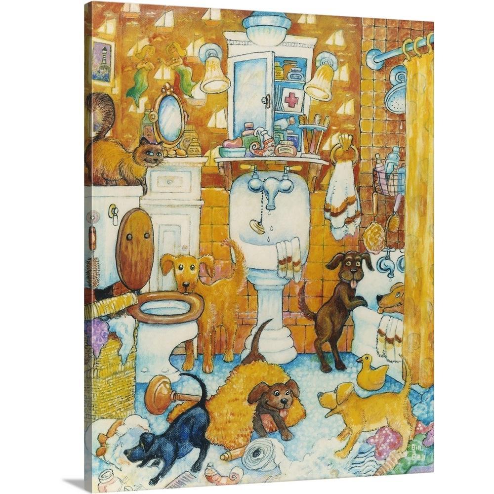 Marvelous Orange Bathroom Pups By Bill Bell Canvas Wall Art Home Interior And Landscaping Ponolsignezvosmurscom