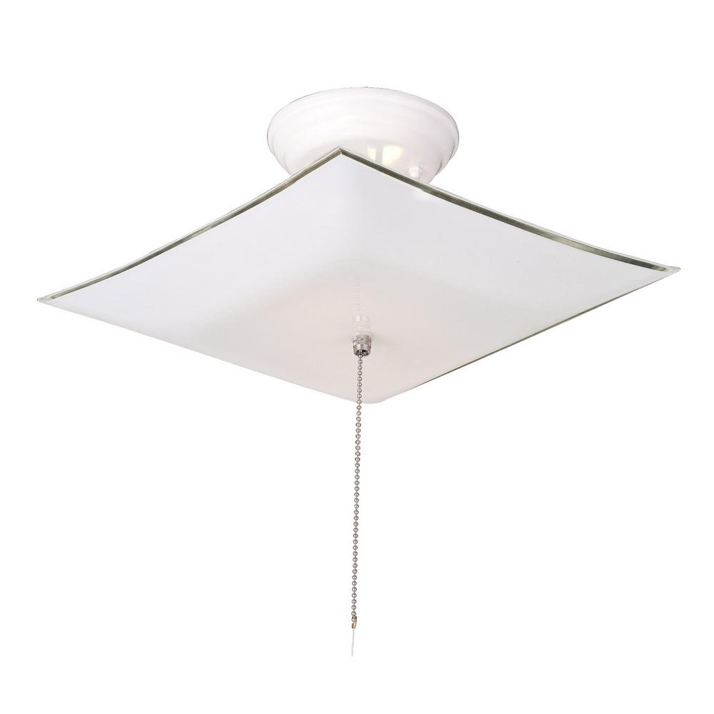 Design House 2 Light White Ceiling Square Mount Light Fixture With Pullchain 517805 The Home Depot