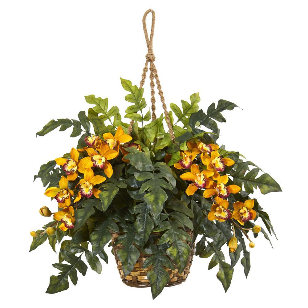 Indoor Cymbidium Orchid and Fern Artificial Arrangement in Hanging Basket