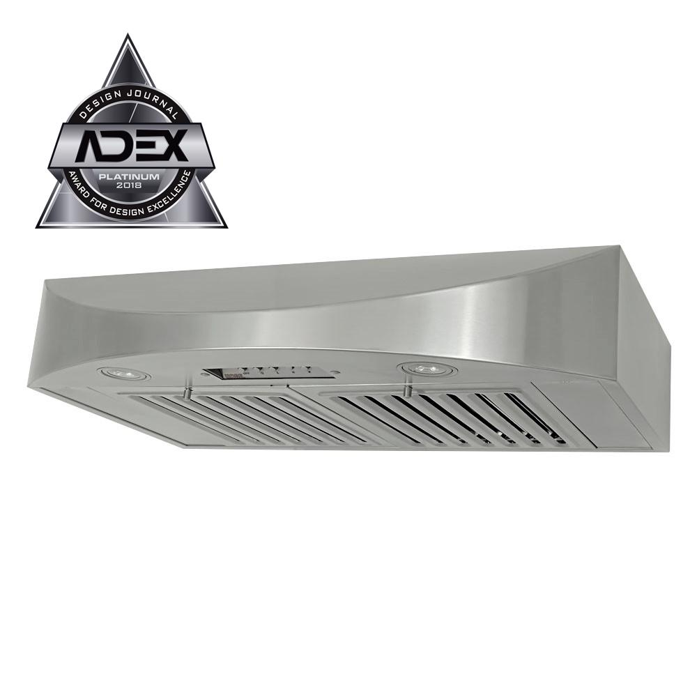 KOBE Range Hoods 36 in. 650 CFM Under Cabinet Range Hood in Stainless Steel (Silver) KOBE Brillia 36 in. under cabinet range hood is equipped with 3-speed mechanical push button, dishwasher-safe baffle filters, and LED lights. It is a powerful hood with 650 CFM internal blower yet quiet at 1.0 sone on QuietMode. This range hood is handcrafted with 18-Gauge commercial grade stainless steel and features a beautiful seamless design.