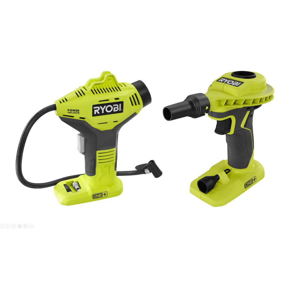 RYOBI 18-Volt ONE+ Cordless Power Inflator and Cordless High Volume Power Inflator 2-Tool Combo Kit (Tools Only)