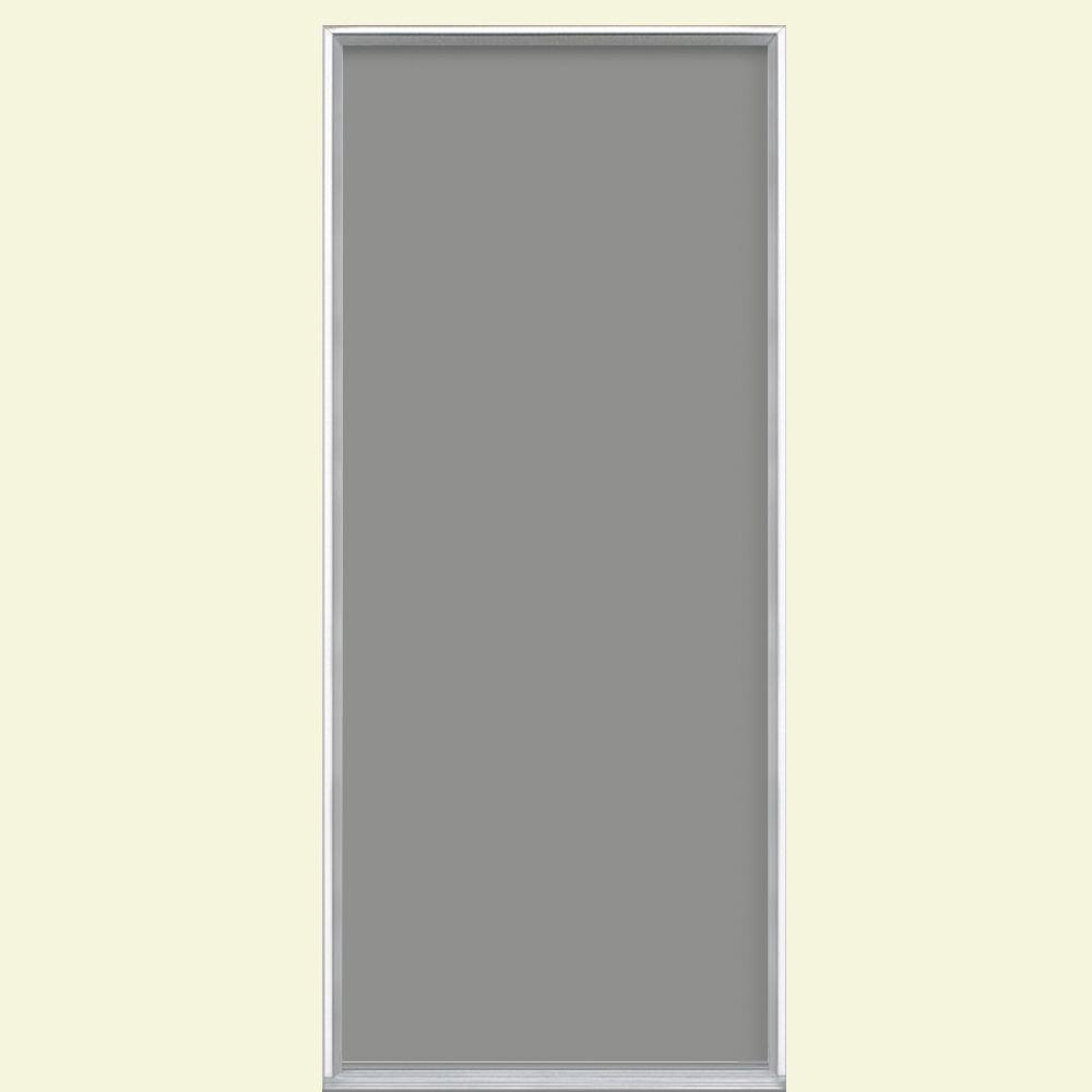Masonite 36 in. x 80 in. Flush Left Hand Inswing Silver Clouds Painted Steel Prehung Front Door No Brickmold in Vinyl Frame