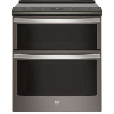 Profile 6.6 cu. ft. Slide-In Double Oven Smart Electric Range with Self-Cleaning Convection in Slate