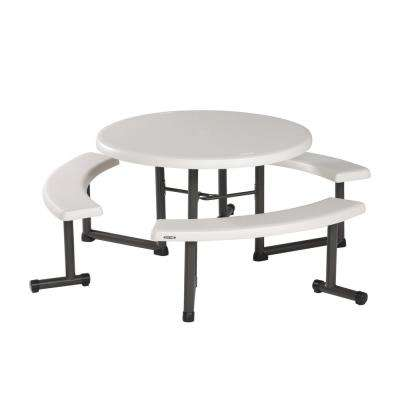 Resin Outdoor Almond 44 in. Round Folding Picnic Table