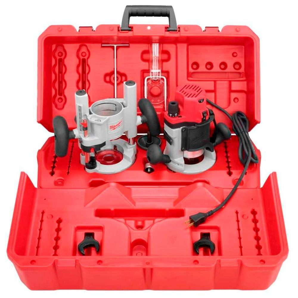 Milwaukee 2-1/4 Max-Horsepower EVS Multi-Base Router Kit with Plunge Base and BodyGrip Fixed Base