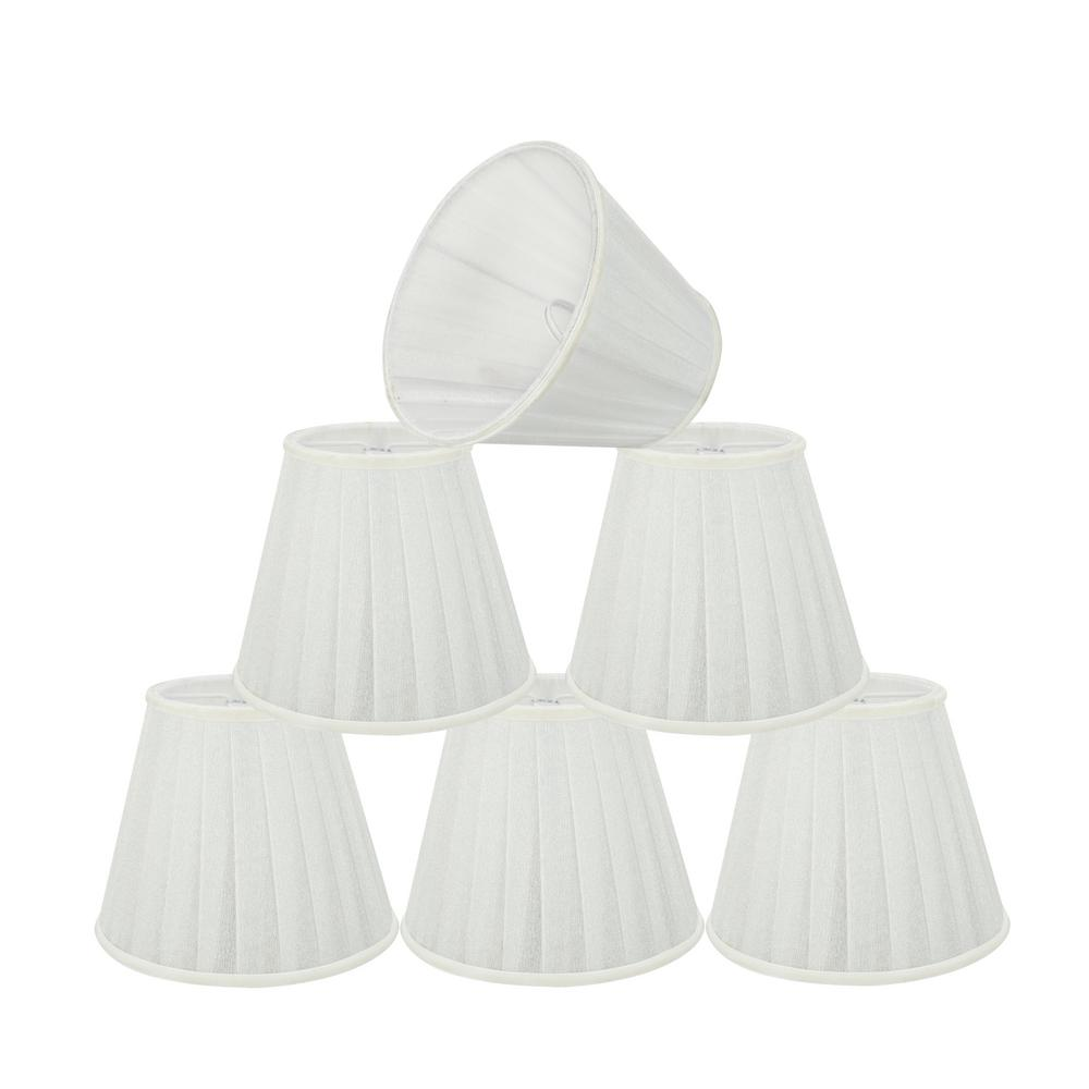 5 in. x 4-1/4 in. White Pleated Empire Lamp Shade (6-Pack)