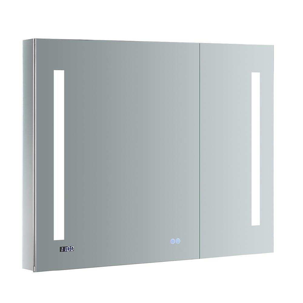Fresca Tiempo 36 In W X 30 H Recessed Or Surface Mount Medicine Cabinet With Led Lighting And Mirror Defogger
