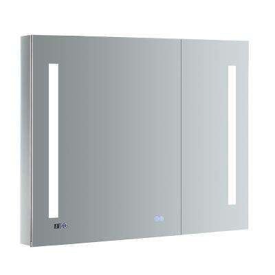 Tiempo 36 in. W x 30 in. H Recessed or Surface Mount Medicine Cabinet with LED Lighting and Mirror Defogger