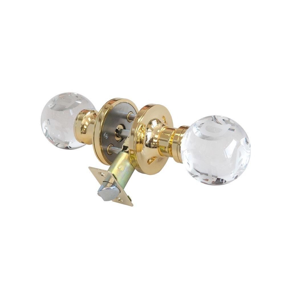 Abc Clear Crystal Brass Privacy Door Knob with LED Mixing Lighting