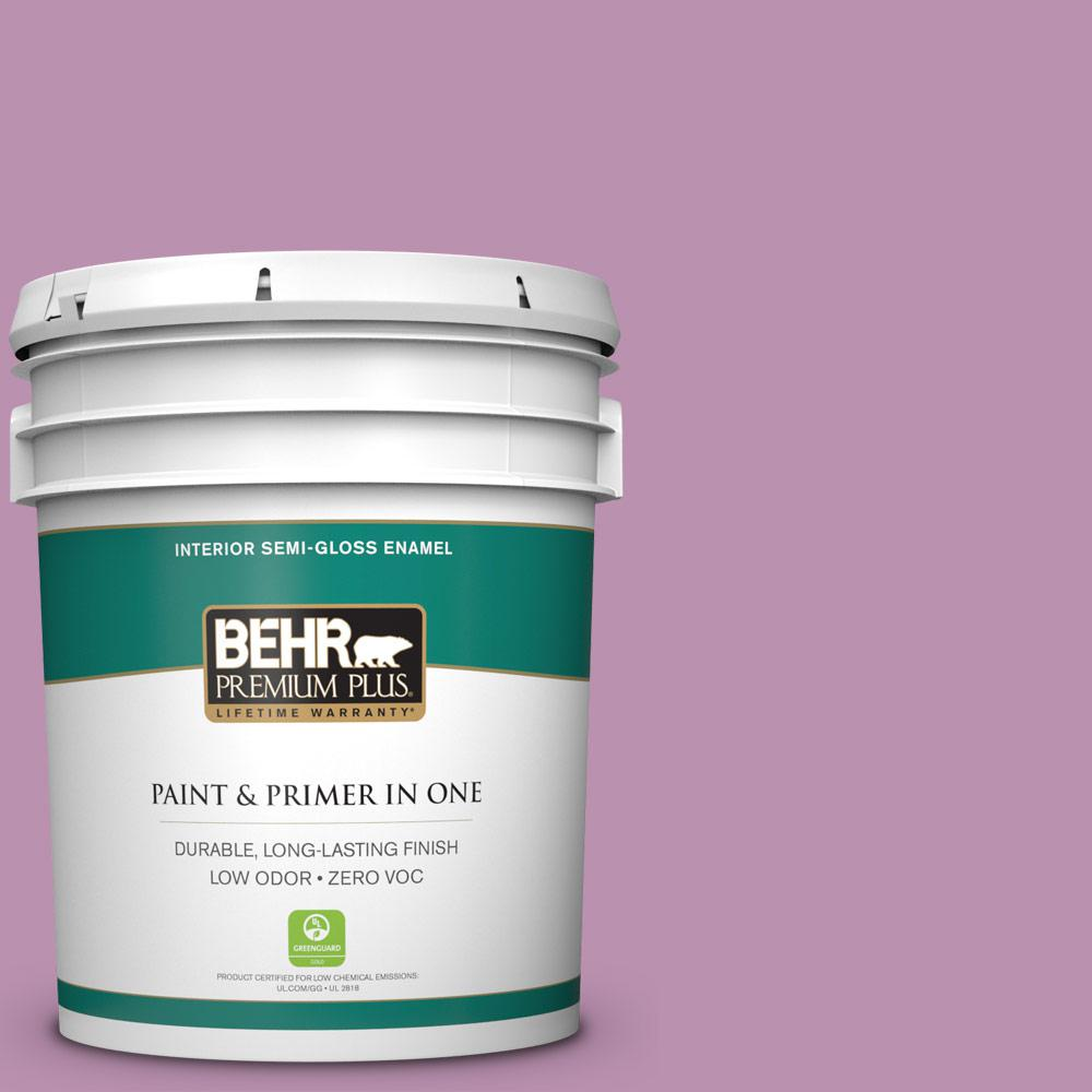 BEHR Premium Plus Home Decorators Collection 5-gal. #HDC-MD-10 Blooming Lilac Zero VOC Semi-Gloss Enamel Interior Paint