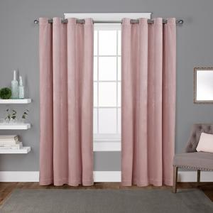 L Velvet Grommet Top Curtain Panel In Blush 2 Panels Eh8196 07 108g The Home Depot