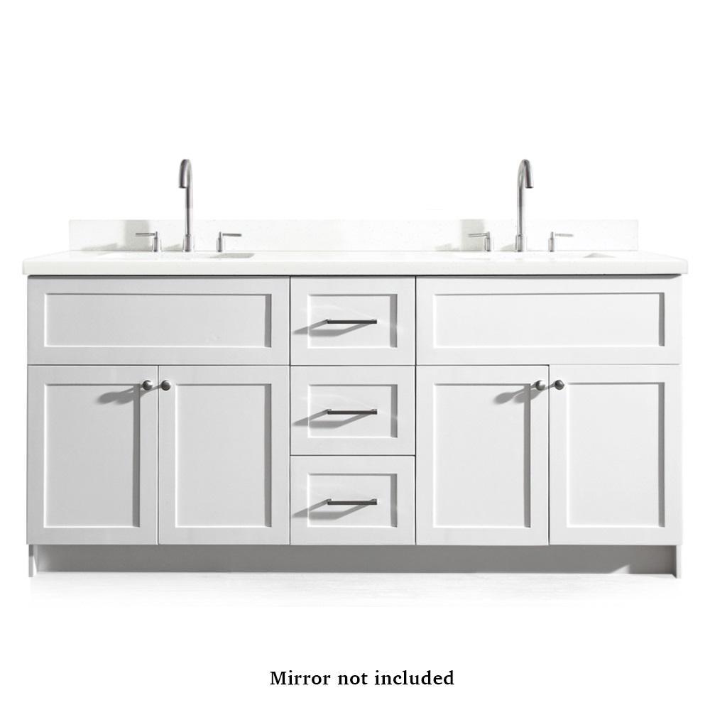 Hamlet 73 in. Bath Vanity in White with Quartz Vanity Top in White with White Basins