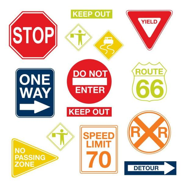 Roadsign Stickers 6 Pack