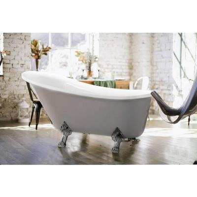 Pantin 69 in. Acrylic Clawfoot Freestanding Bathtub in White