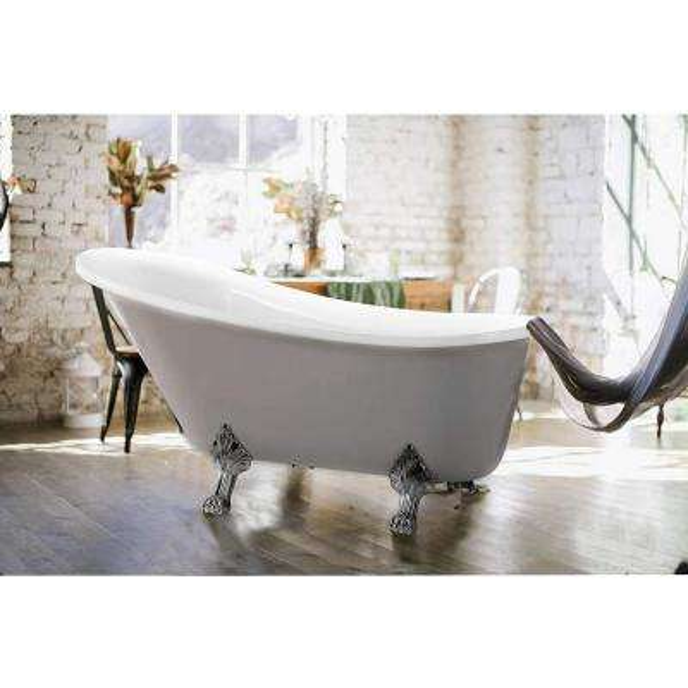 Pantin 69 in. Acrylic Clawfoot Freestanding Bathtub in White