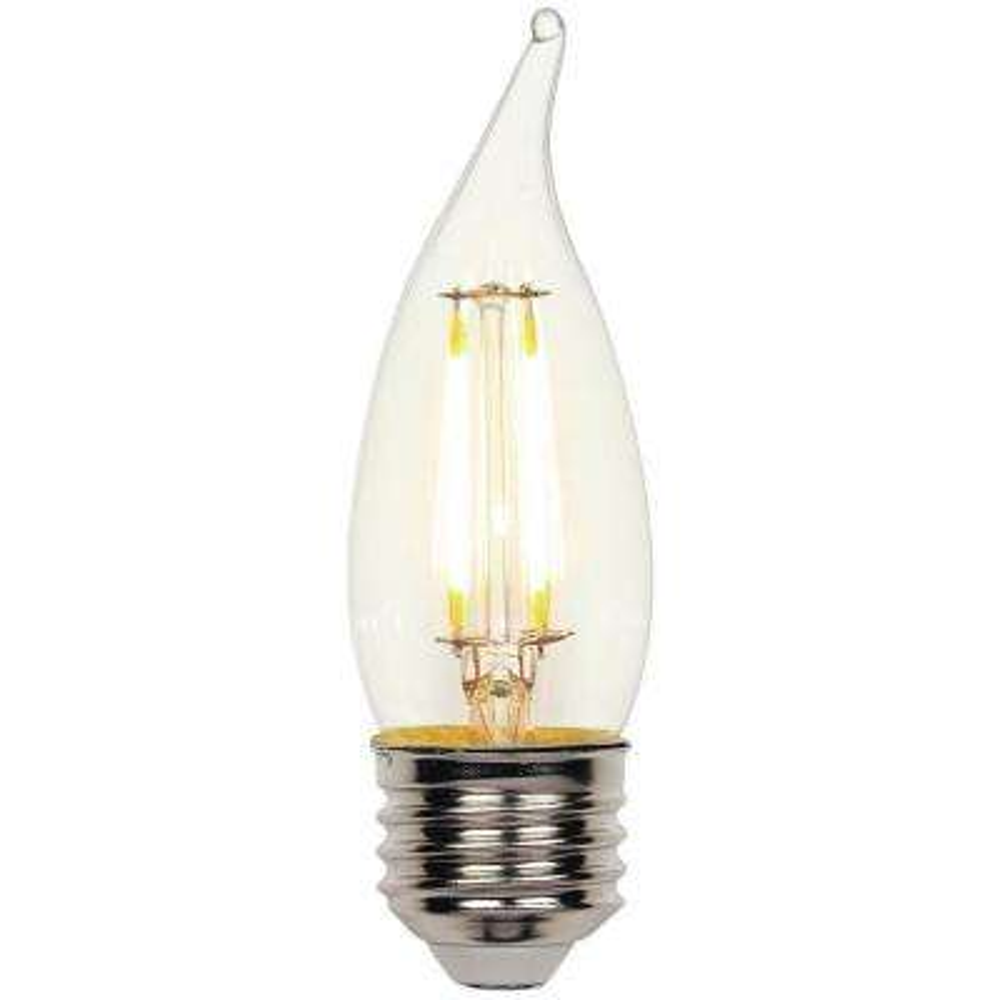 40W Equivalent Soft White (2,700K) Decorative CA10 Flame Tip Medium Base Dimmable Filament LED Light Bulb