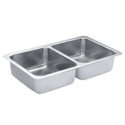 1800 Series Undermount Stainless Steel 32 in. Double Bowl Kitchen Sink