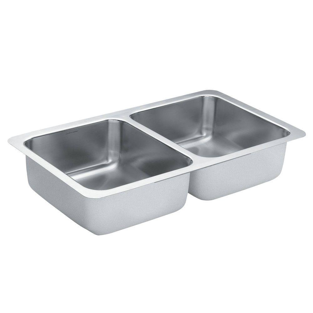 1800 Series Undermount Stainless Steel 32 in. Double Basin Kitchen Sink