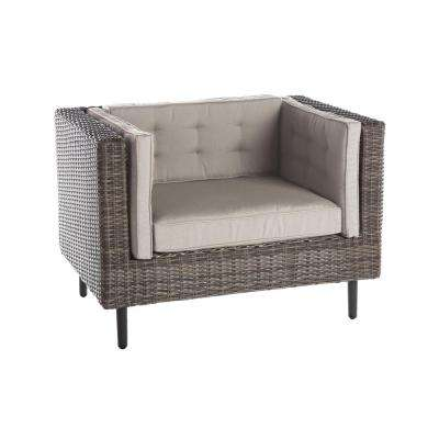 Aimee 1-Piece Wicker Patio Seating Set with Cast-Ash Cushions