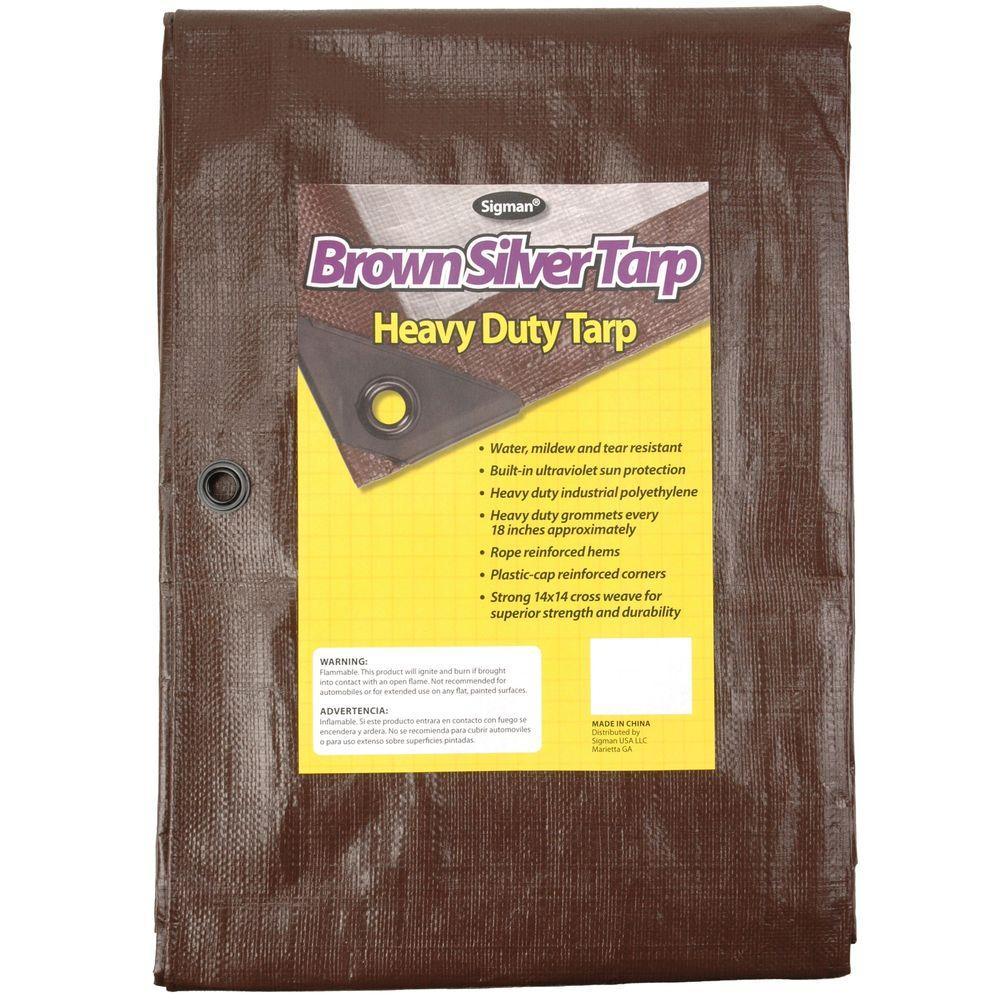 10 ft. x 10 ft. Brown Silver Heavy Duty Tarp