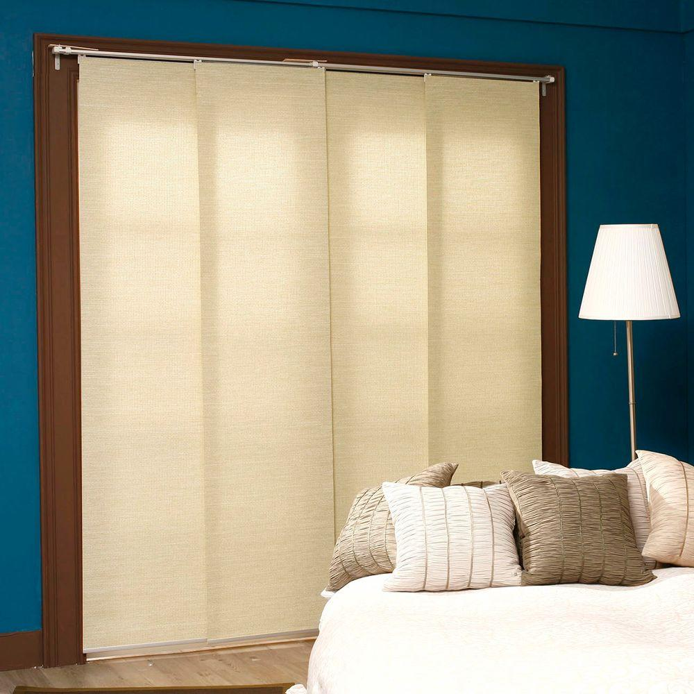 Adjustable Sliding Panel, Cordless Shade, Double Rail Track, Privacy Fabric, 80