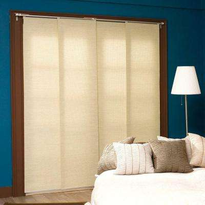 Adjustable Sliding Panel, Cordless Shade, Double Rail Track, Privacy Fabric, 80 in. W x 96 in. L, French Primrose